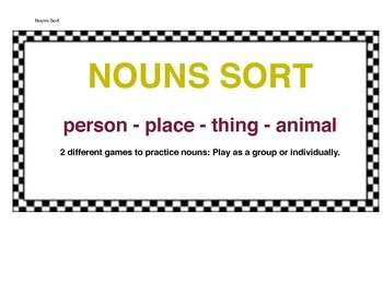 Nouns Sorting Game