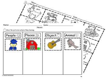 Nouns Sorting Worksheet SLA Common Core/Cscope1 by Pacheco's ...