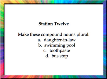 Nouns Stations Review Task Card Activity