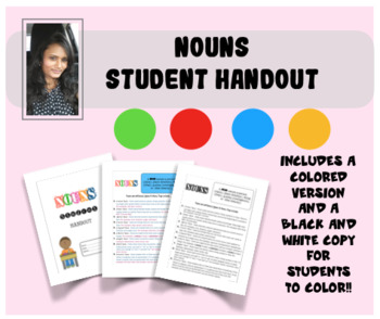 Nouns Student Handout!! Colored and B&W versions available!