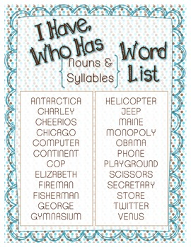 Nouns & Syllables {I Have Who Has} Pack!
