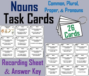 Types of Nouns Task Cards (Common, Proper, Plural, Pronouns) 2nd 3rd 4th Grade