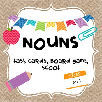 Back to School NOUNS Task Cards, SCOOT, and Board Game