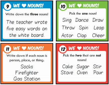 Nouns Task Cards with Scoot Practice!