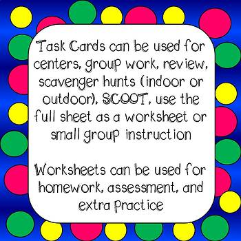 Nouns Task Cards and Worksheets