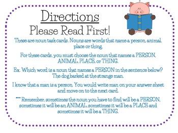 Nouns Task Cards for Journeys Grade 2