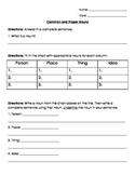 Nouns: Common and Proper Nouns Test/ Quiz/ Worksheet