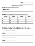 Nouns: Common and Proper Nouns Test/ Quiz/ Worksheet