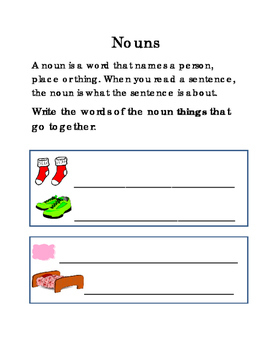 Nouns Things That Go Together Person Place Thing Reading Writing Journal ELA 2p