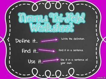 Nouns Tri-Fold Worksheet