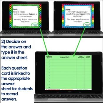 Nouns Truth or Dare ELA Game for Google Classroom