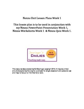Nouns Unit Week 1