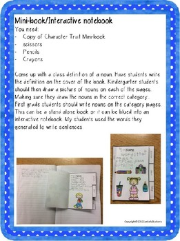 Nouns Unit for Kindergarten and First Grade