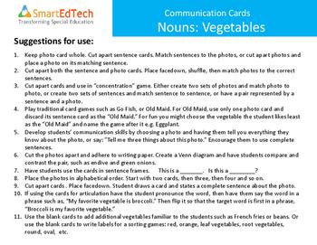 Nouns Vegetables - SmartEdTech Communication Cards