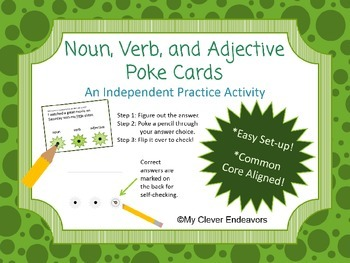 Nouns, Verb, and Adjectives Poke Cards for Independent Practice