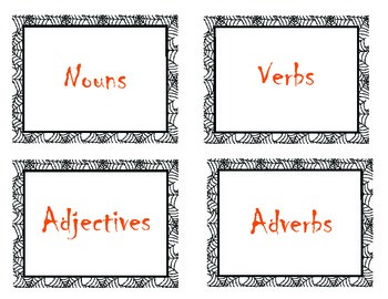 Nouns, Verbs, Adjectives, Adverbs Word Sort Halloween/Spider Theme