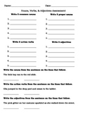 Nouns, Verbs, & Adjectives Assessment