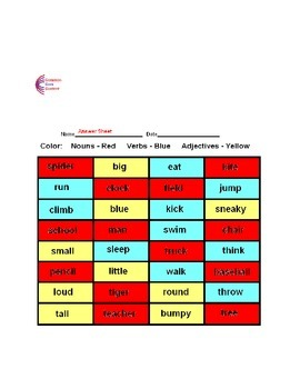 Nouns, Verbs, Adjectives Common Core Language ELA Worksheets L.K.1.B L.1.1.F