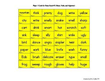 Nouns, Verbs, Adjectives Connect Four