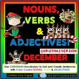 DECEMBER - CHRISTMAS LITERACY Nouns, Verbs & Adjectives Activities!