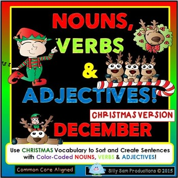 DECEMBER - CHRISTMAS LITERACY Nouns, Verbs & Adjectives Ac