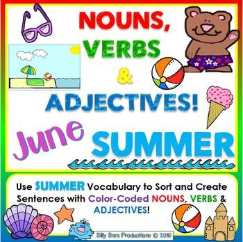 Nouns, Verbs & Adjectives JUNE - SUMMER Literacy Activities | TpT