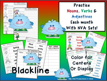 Nouns, Verbs & Adjectives MAY - SPRING Literacy Activities