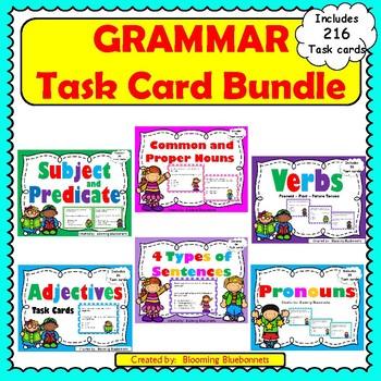 Grammar-Nouns-Subject and Predicate-Verbs-Adjectives-Pronouns-BUNDLE