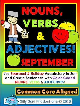Nouns, Verbs & Adjectives SEPTEMBER Activities!