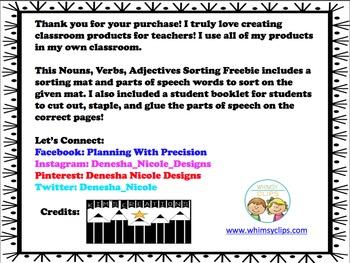 Nouns, Verbs, Adjectives Sort Freebie!
