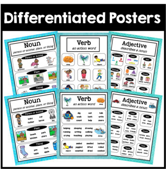 Nouns, Verbs, Adjectives Sort, Posters, Flip Books, Worksheets