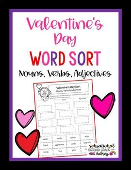 Nouns, Verbs, Adjectives Sort- Valentine's Day Sort