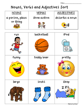 Nouns Verbs Adjectives Sorting Center and Recording Sheet
