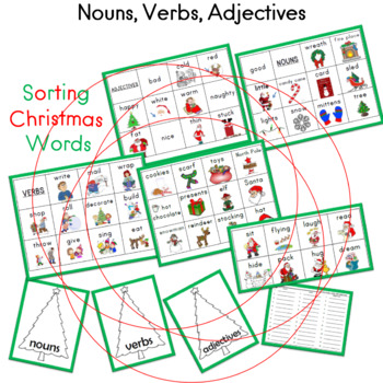 Nouns, Verbs, Adjectives Sorting Christmas Words