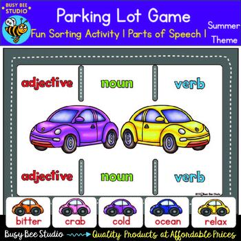 Nouns, Verbs, Adjectives Sorting - Parts of Speech -Summer Theme
