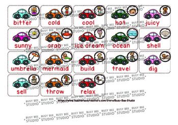 Nouns, Verbs, Adjectives Sorting - Parts of Speech -Summer Theme