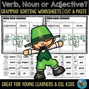 Noun, Verb or Adjective Sorts | Grammar Worksheets | St. Patrick's Day