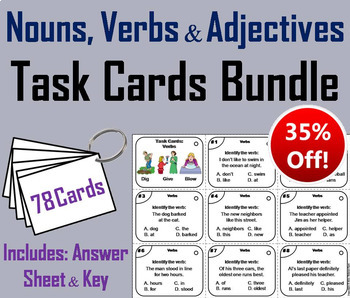 Nouns Verbs Adjectives Task Cards Bundle 2nd 3rd 4th Grade