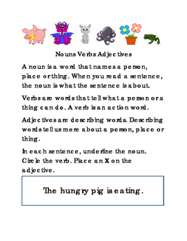 Nouns Verbs Adjectives Test Prep Critical Thinking Literacy Reading English 4 pg
