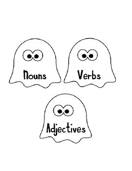 Nouns, Verbs, and Adjectives Word Sort Ghost Themed