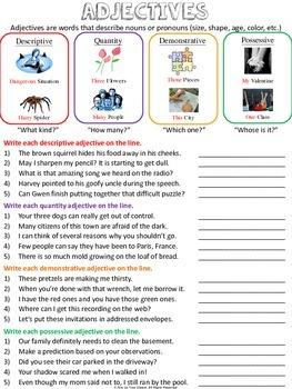 Nouns, Verbs, & Adjectives Worksheets & Quizzes