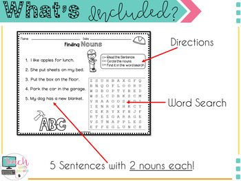 Nouns Verbs Adjectives Worksheets and Word Search