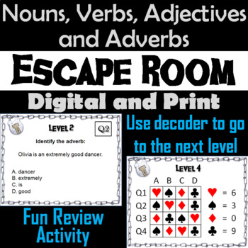 Nouns, Verbs, Adjectives and Adverbs Game: Grammar Escape Room Parts of Speech