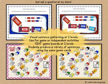 Parts of Speech Activities for Making and Editing Sentences