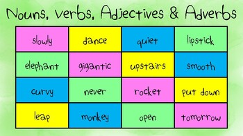 Nouns, Verbs, Adjectives and Adverbs (Spin 4 in a row)