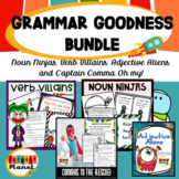 Nouns, Verbs, Adjectives, and Commas Posters, Worksheets and Games