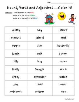 worksheets verbs and adjectives kidz activities. Black Bedroom Furniture Sets. Home Design Ideas