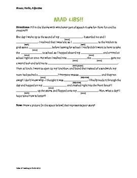 picture relating to Free Printable Mad Libs for Middle School Students known as Insane Libs Worksheets Instruction Materials Instructors Fork out Instructors