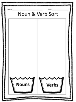 Nouns & Verbs Cut & Paste Sorting Activity - Ice Cream Theme