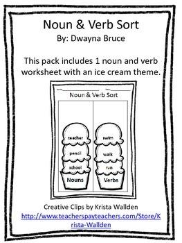 Nouns & Verbs Cut & Paste Sorting Activity - Ice Cream Theme